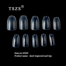 1bags/lot 500pcs ABS Ballerina Clear Natural Coffin Fake false Nails Art Tips Flat Shape Full Cover Manicure Nail