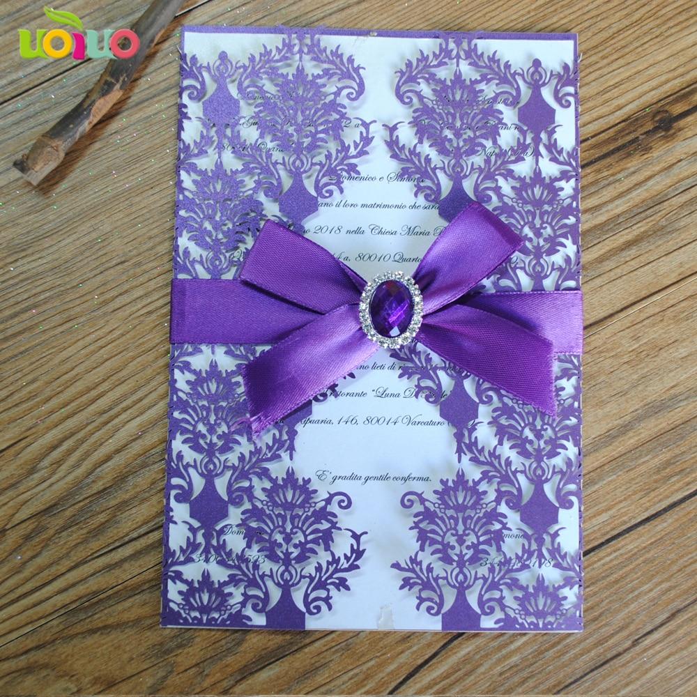 Us 37 8 Diy Customzied Inc198 Europe Wedding Invitations Card Lavender Invitation Card Tied Lavender Bow Print Insert Envelope In Cards