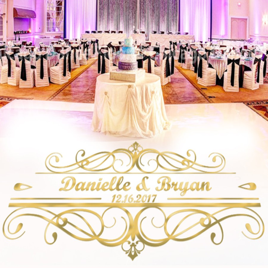 YOYOYU Custom Made Wedding Stickers Dancing Floor decor Personalized Name Party Floor Decals Removable Monogram Mural J926
