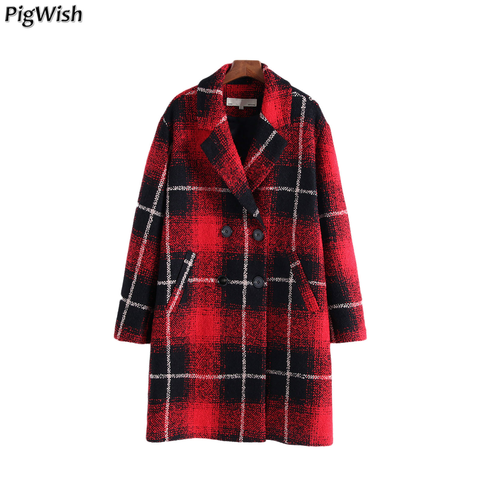 2019 Autumn Winter Women Plaid Turn down Double Breasted Loose Woolen Coat England Style Female Outerwear