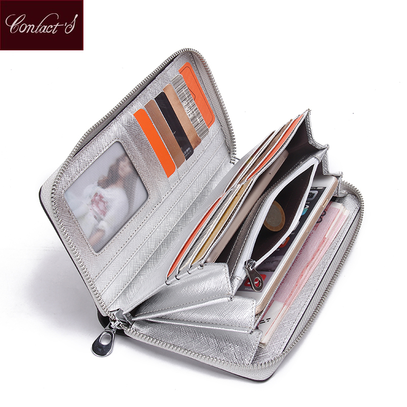 Contact's Brand Women Cow Leather Clutch Ladies Continent Purses Metalic Genuine Leather Wallets Cell Phone Holder Hot Sale
