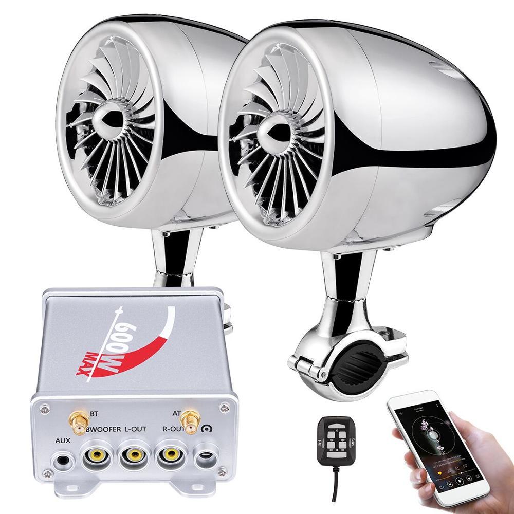 600W Bluetooth amplificateur moto haut-parleurs stéréo système de lecteur Audio de musique AUX Radio étanche USB ATV Touring