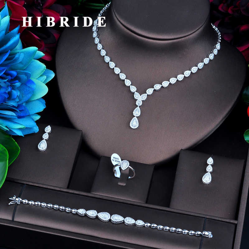 HIBRIDE Luxury Jewelry Gold Color Micro Cubic Zircon Pave Jewelry Sets For Women Bridal Wedding Accessories N-732