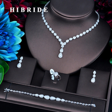 HIBRIDE joyería de lujo de Color dorado, Micro circonita cúbica, juegos de joyas para mujer, accesorios de boda para novia, N 732