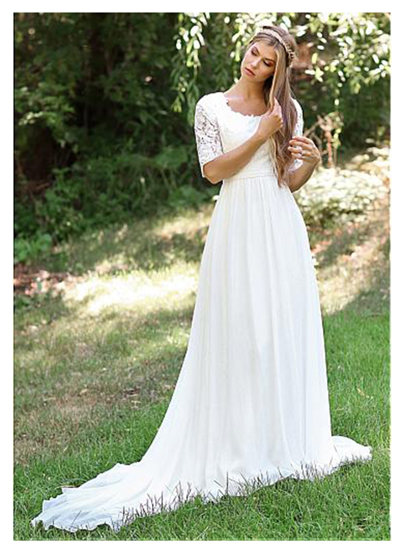 be8d33d6f4 Half Sleeves Wedding Dress Floor Length Lace Bride Dress White Ivory Beach  Cheap Robe de mariee 2019 Elegant Wedding Gowns-in Wedding Dresses from  Weddings ...