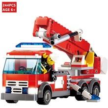 244Pcs City Fire Fighting Truck Building Blocks Sets LegoINGLs Bricks Fireman Figures Educational Toys for Children недорого