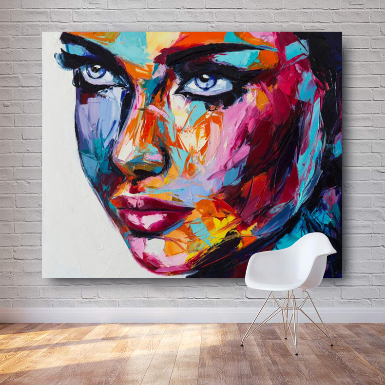 Large Size Fantasy Woman Face painting Canvas Oil Paintings Modern Wall Art Posters For Living Room Home Decor Pictures