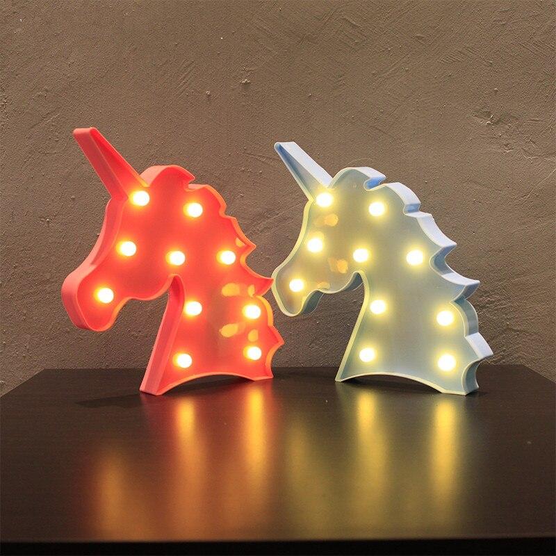 2018 милые единорог глава светодиодный свет ночи животное шатер лампы повесить на стену для Детская Вечеринка Украшения в спальню подарки дл...