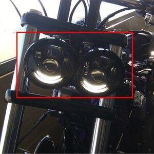 Image 5 - Новый 4,65 дюймов для мотоцикла Harley двойной светодиодный фары с DRL halo для Harley Dyna Fat Bob FXDF Модель двигателя светодиодный фонарь