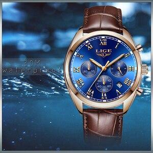 Image 5 - LIGE relojes para hombre, cronógrafo de lujo, de cuero, deportivo, resistente al agua, militar, Masculino