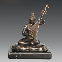 ATLIE Bronze Saraswati Sculpture Hindu Mythology Wisdom Wealth Goddess India Buddha Figurine Bronze Statue for Business Gift