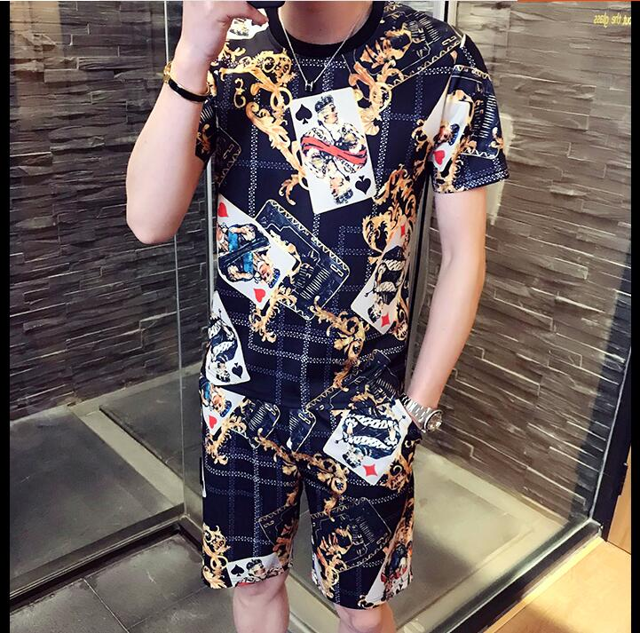 Loldeal Men Summer Playing Poker King Sportswear Fashion Short Sleeve Set Print T-shirt+Short Pants Men Tracksuit 3D Print Hip