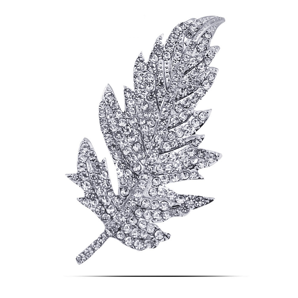 Magic Ikery Luxury Full Rhinestone Crystal Leaf Leaves Brooch Pins Wedding Jewelry For Women Accessories JDD B541 In Brooches From On