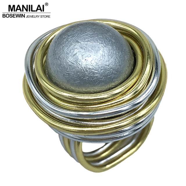 MANILAI Unique Handmade Simulated Pearl Rings For Women Fashion Jewelry Wire Spi