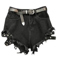 2018 new high street lady fashion short women belt ragged edge washed black denim shorts