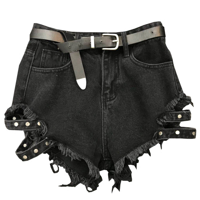 2018 new high street lady fashion short women belt ragged edge washed black denim shorts
