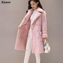 New Winter Women Suede Fur Coats Long Double Breasted Trench Female Thick Jackets Ladies Faux Sheepskin Windbreakers Xnxee