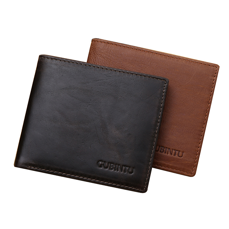 Business Mens Wallets Fashion Genuine Leather Short Carteras Black Coffee Solid Color 3 Folds ID Credit Card Holder Purse Wallet