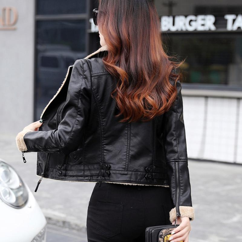 Cuir Épaisse Slim Manteau Biker D'hiver De Doublure Moto Fourrure Zipper En Faux Femmes Noir Nouvelles Chaud Vestes Outwear 2018 Veste v0EnRxgqw7