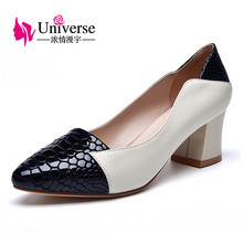 Genuine Leather Shallow Pointed Toe Thick Heel Classic Style C040