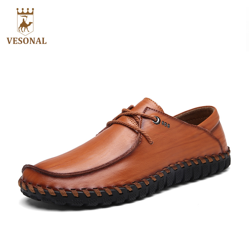VESONAL 2017 New Handcraft Business Casual Male Shoes Men Adult Brand Quality Genuine Leather Walking Driver Autumn Footwear Man vesonal winter fur male shoes for men loafers adult business casual brand high quality genuine leather footwear man walking