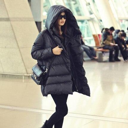 2019 Горячая новинка черный темно синий пуховик Повседневный стиль Большие размеры зимние пальто для женщин - 3