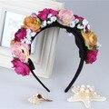 Girl Bride Bohoflower knitted headband Festival Wedding Floral Garland Hair Band Headwear accessories wholesale Head band hair
