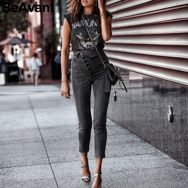 BeAvant High waist button skinny black jeans pants Women causal fold pencil jeans female 2019 Summer fashion denim pants capris