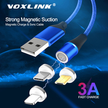 Magnetic USB Cable VOXLINK 1M LED for iPhone Xs 6 7&USB TypeC & Micro Nylon Braided Samsung Xiaomi Huawei LG C