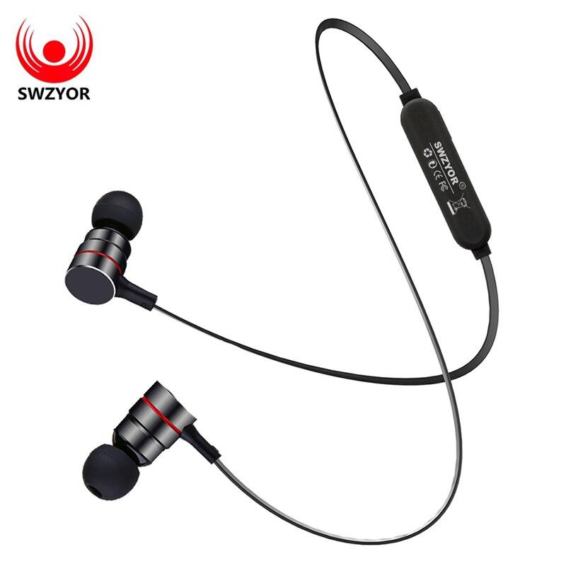 SWZYOR S03 Wireless Bluetooth Earphone Smart Magnetic Power on/off Earbuds Sport Anti-sweat Metal Headphone V4.1 With Microphone