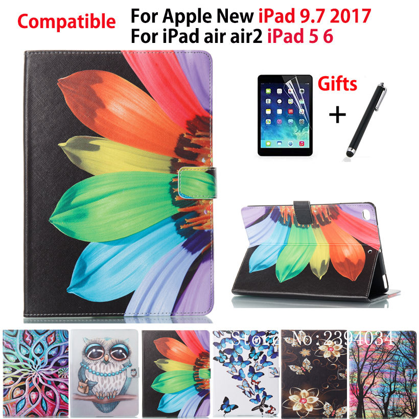 Fashion Painted Case For Apple New iPad 9.7 2017 A1822 Cover For iPad Air 1 2 iPad 5 6 PU Leather Case Stand Shell +Film+Pen nice flexible tpu silicone case for apple new 2017 ipad 9 7 cover protect smart cover partner clear transperent bottom back case