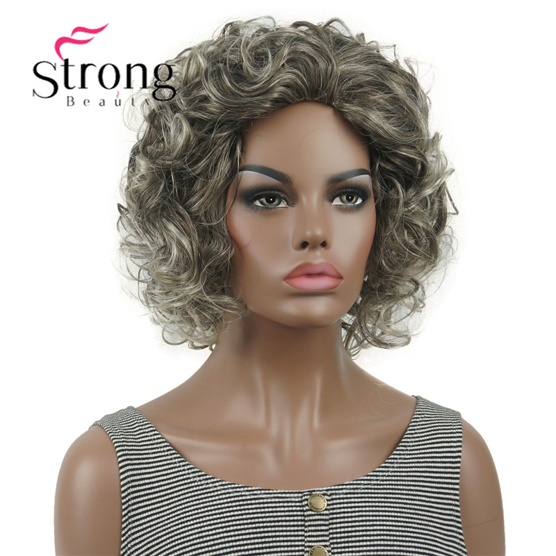 StrongBeauty Short Super Curly Brown Root With White Blonde Tip Curly Short Synthetic Hair Women' Wig(China)