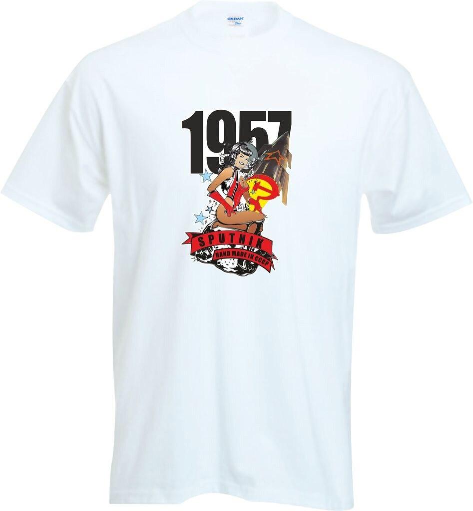 Clever 2017 Sommer 100% Baumwolle Männer T-shirt Hohe Qualität Sputnik 1 Hand Made In Russland 1957 Russische Cosmonaut Satellite Herren T Hemd Attraktive Mode