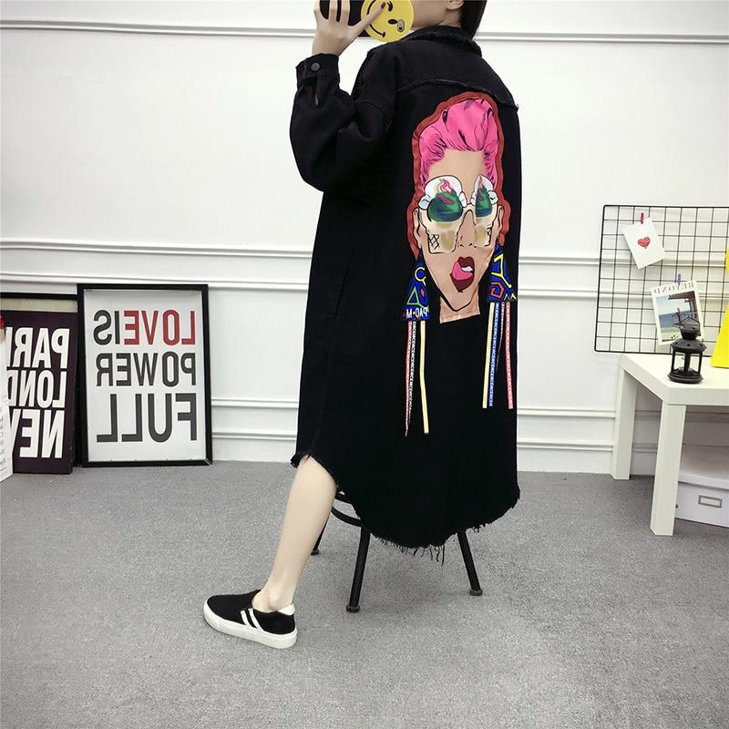 Spring Long Sleeve Denim   Trench   Coat For Women New Clothing Streetwear Fashionable Character Cartoon X-long Coat jn413