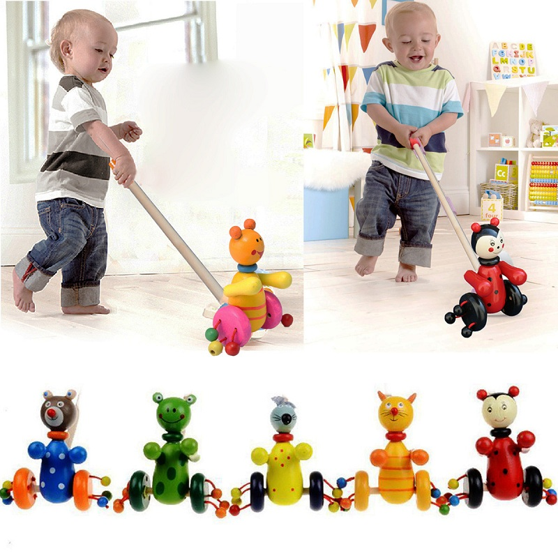 2018 Hot Style DIY Interactive Animal Toddler Toys For Childern Baby Animals Push Cart Wooden Blocks Trolley Toy Educational Kid