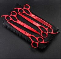 7-calowy Pet grooming nożyczki nożyczki nożyce nóż garnitur psa włosów fryzjer narzędzia do naprawy dedykowane 5 kolor