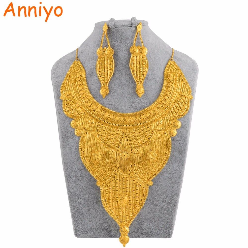 Anniyo African Big ensembles de bijoux pour Femmes Dubaï Mariée Bijoux Arabie Saoudite Inde Émirats Arabes Unis Or Couleur De Mariage Cadeau