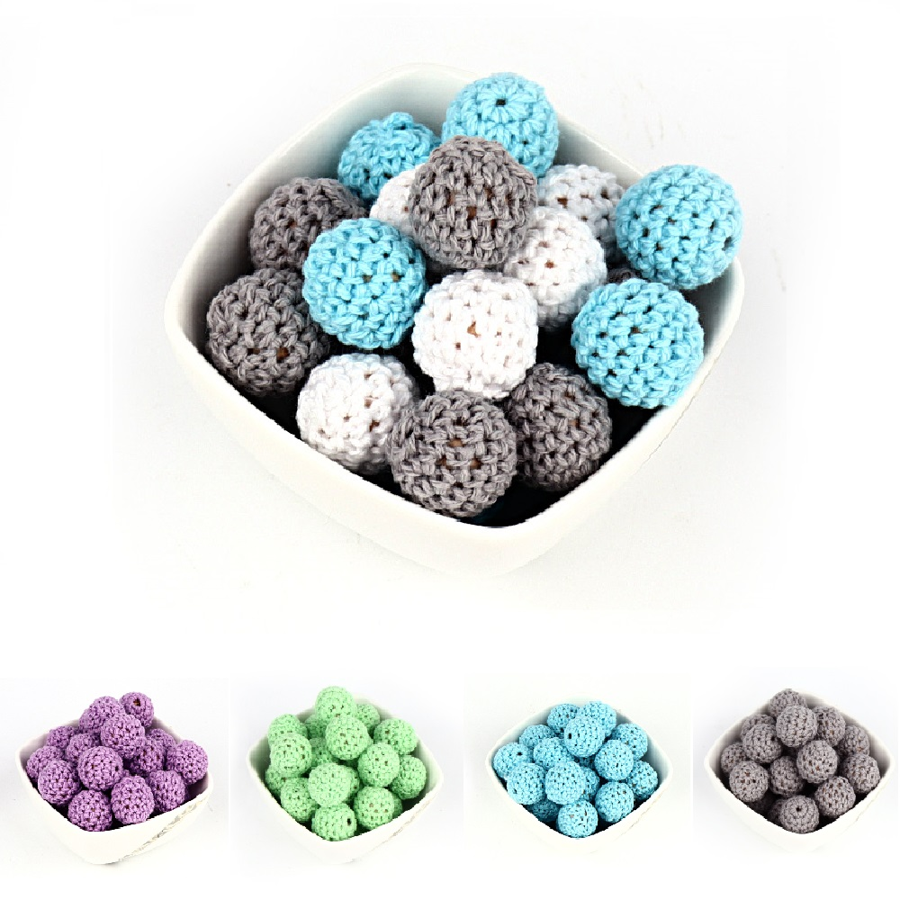 TYRY.HU 10Pcs Crochet Wooden Beads 16mm Natural Wooden Colorful Round Beads For Pacifier Chain Teething Beads Baby Teether Toys tungsten alloy steel woodworking router bit buddha beads ball knife beads tools fresas para cnc freze ucu wooden beads drill