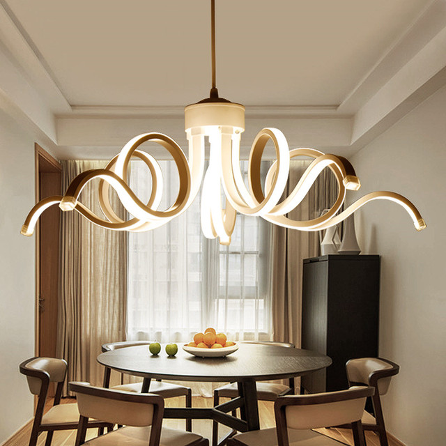 Contemporary Modern Aluminum Acrylic Art Deco Cord Hanging Led Chendelier Lighting  Fixtures Dining Room Restaurant Desktop