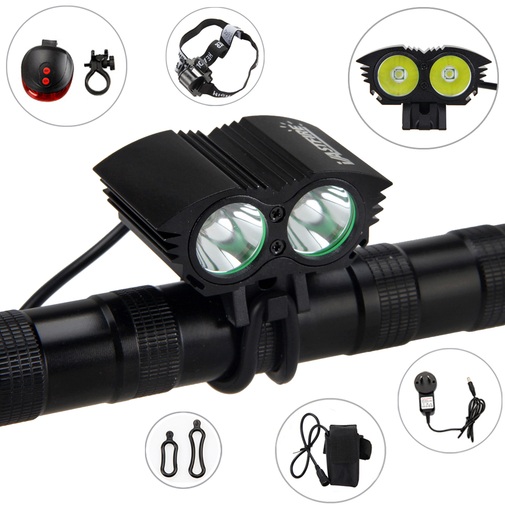 2 in 1 Headlamp Bike Light 6000 LM 2X XM-L U3 LED Bicycle Lamp Outdoor Cycling Headlight with Battery Sets+Red Laser Tail Lamp 950lm 3 mode white bicycle headlamp w cree xm l t6 black silver 2 x 18650