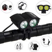 2 in 1 Headlamp Bike Light 6000 LM 2X XM L U3 LED Bicycle Lamp Outdoor Cycling Headlight with Battery Sets+Red Laser Tail Lamp