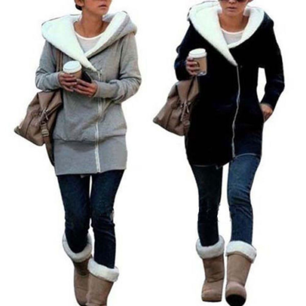 2018 winter stylish hooded slim zipper long-sleeved fashion coat solid color medium-long warm jacket coat