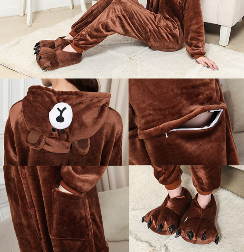 3Kigurumi Brown Bear Onesie Slippers Women Men Adult Animal Costume Cartoon Pajama Funny Festival Party Fancy Suit  (2)