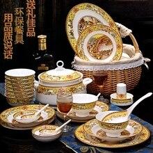цена на christmas Chinese bowl dishes set Jingdezhen Bone China dish glaze medium color 56 pieces  ceramic tableware moving gifts