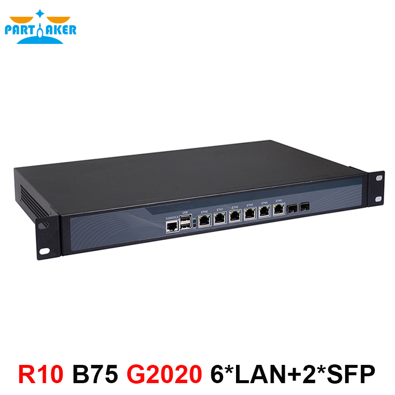 Intel Pentium G2020 2.9G 1U network Firewall router with six intel PCI-E 1000M 82574L Gigabit LAN Mikrotik ROS etc 2G RAM 8G SSD маршрутизатор mikrotik ccr1036 8g 2s 8x10 100 1000mbps 2xsfp 1xmicrousb