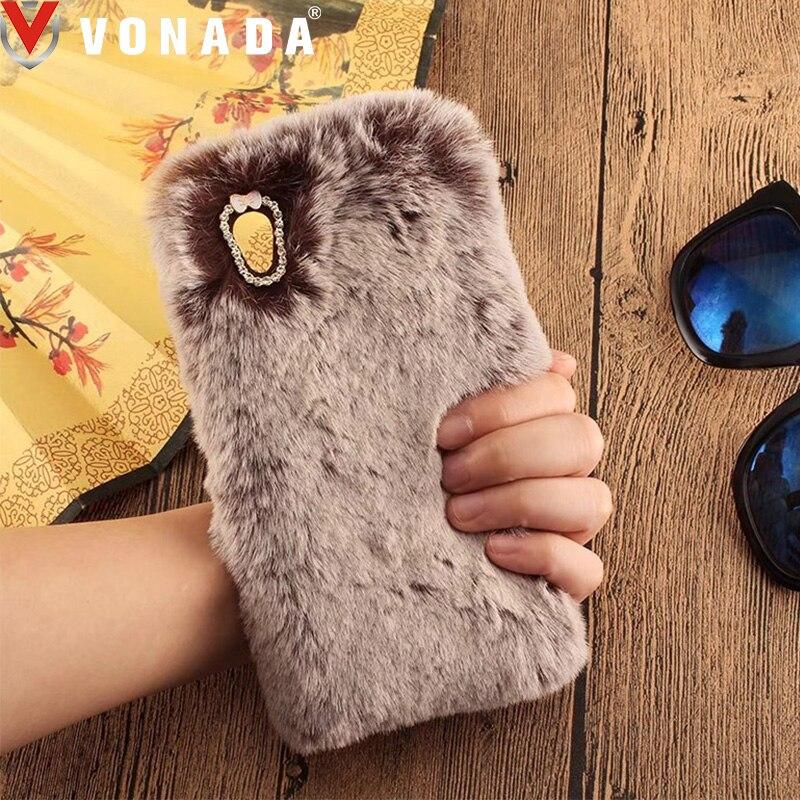 Vonada Plush Case for Sony Xperia XZ1 Compact L1 Z5 Z4 Z3 Z2 C5 Cute Rabbit Ears Fur Cover TPU Diamond Jewelled Soft Case Cover