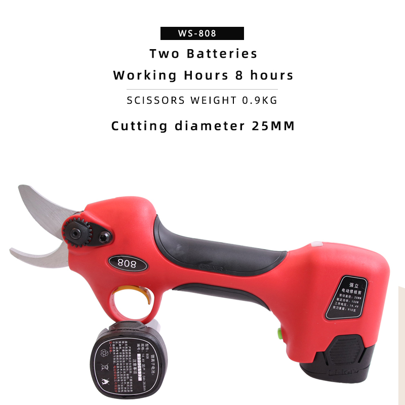 2019 new electric pruning scissors cordless garden tools two batteries working hours 8 hours