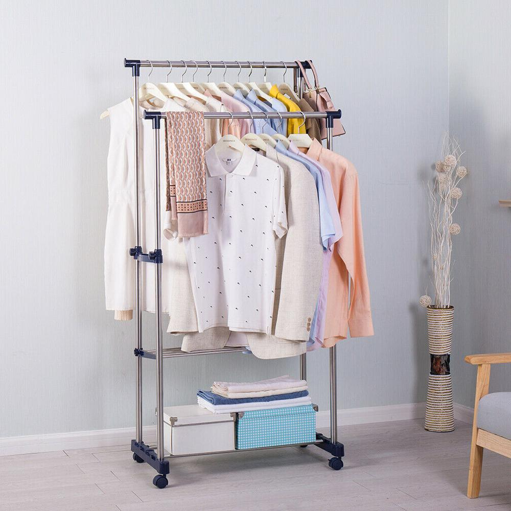 Furniture Living Room Double Pole Rolling Adjustable Garment Coat Rack Dress Hanger Clothes Rack With Movable Wheels DQ0813A