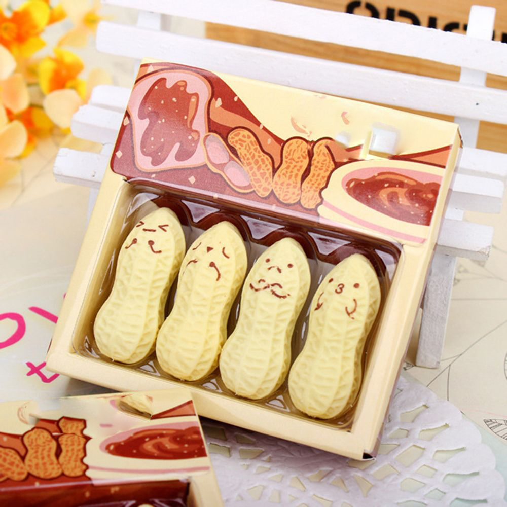 4pcs/lot Hot Sale Cute Expression Peanut Rubber Eraser Lovely Cartoon Stationery School Office Supply Student Stationary