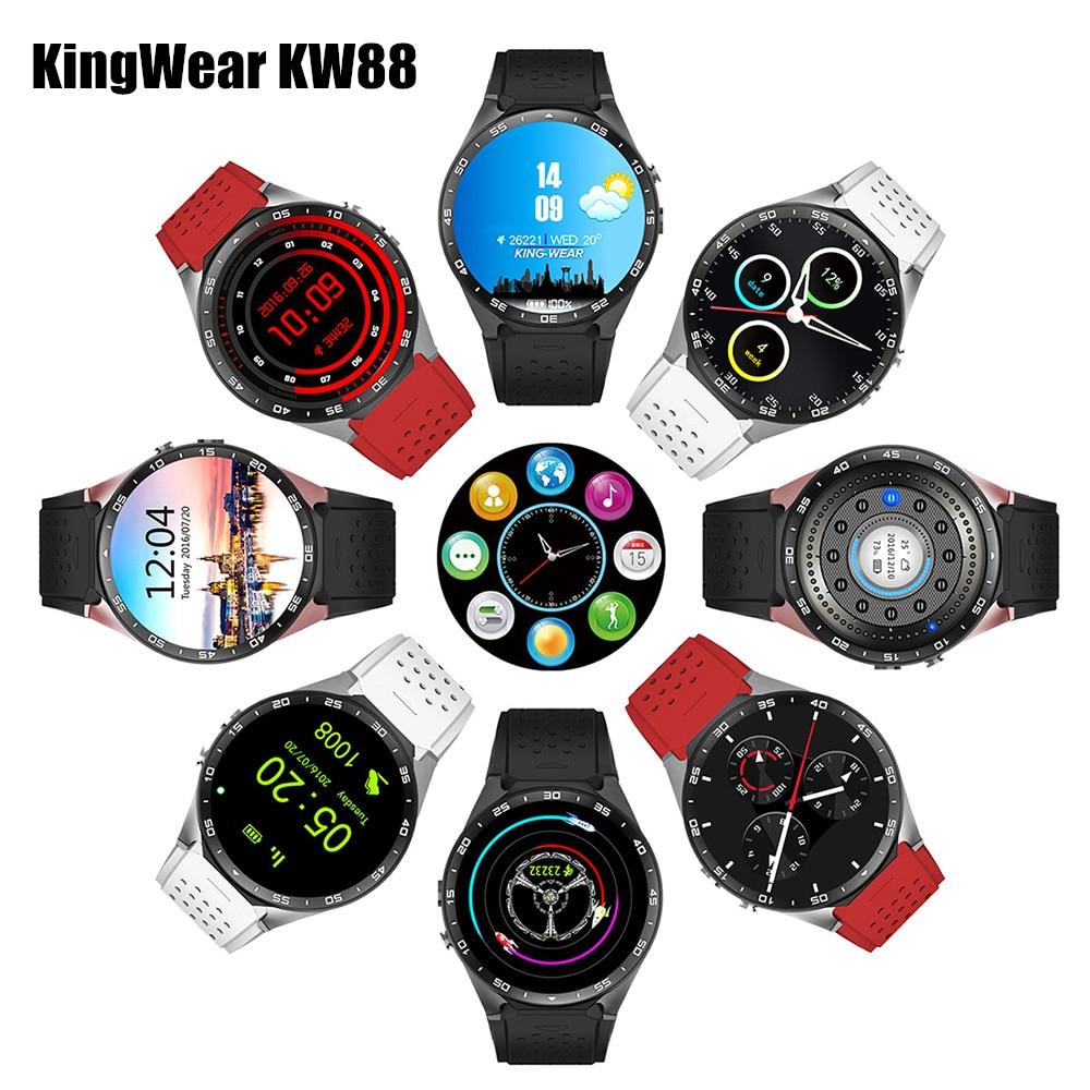 KingWear KW88 Android 5.1 Smartwatch 3G Bluetooth Wi-fi Relógio Inteligente MTK6580 Quad Core 512 MB RAM 4 GB ROM telefone GPS Gravidade Sensor de